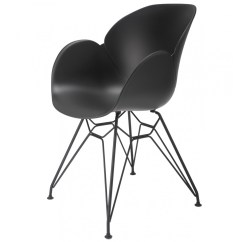 Chair Steel Legs Ergonomic Desk Uk Flora Black Modern Accent Dining With