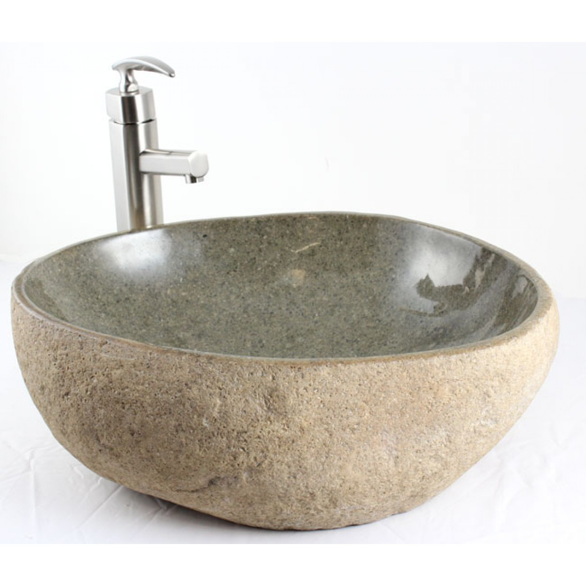 Natural River Rock Stone Bathroom Lavatory Vessel Sink  19 x 16 x 614 Inch
