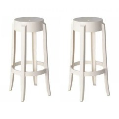 Ghost Bar Chair Bed Pillow Walmart Set Of 2 Victoria Style Stool White Color