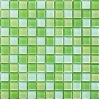 GlossyApple Green Blend Glass Mosaic Tile Mesh Backed Sheet