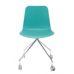Turquoise Office Chair Portable Travel High Harness Hebe Series Molded Plastic Designer