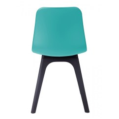 Turquoise Side Chair Leather High Back Hebe Series Dining Shell Molded