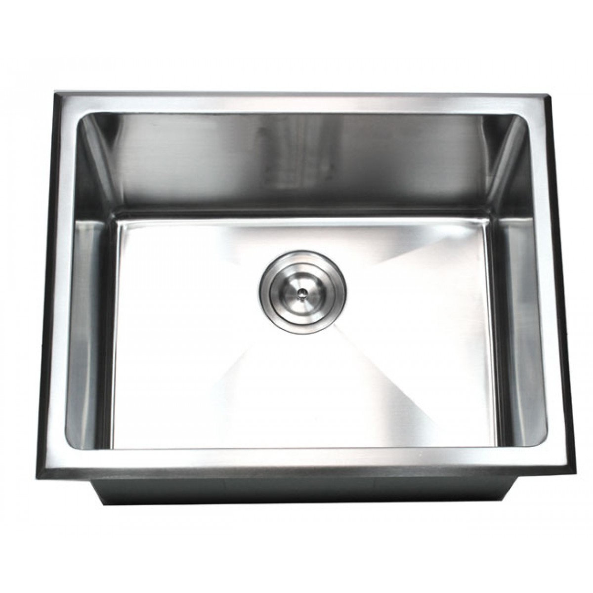 23 inch drop in stainless steel single bowl kitchen utility laundry sink 15mm radius design