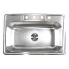 Drop In Kitchen Sinks Coffee Station 33 Inch Stainless Steel Top Mount Single Bowl