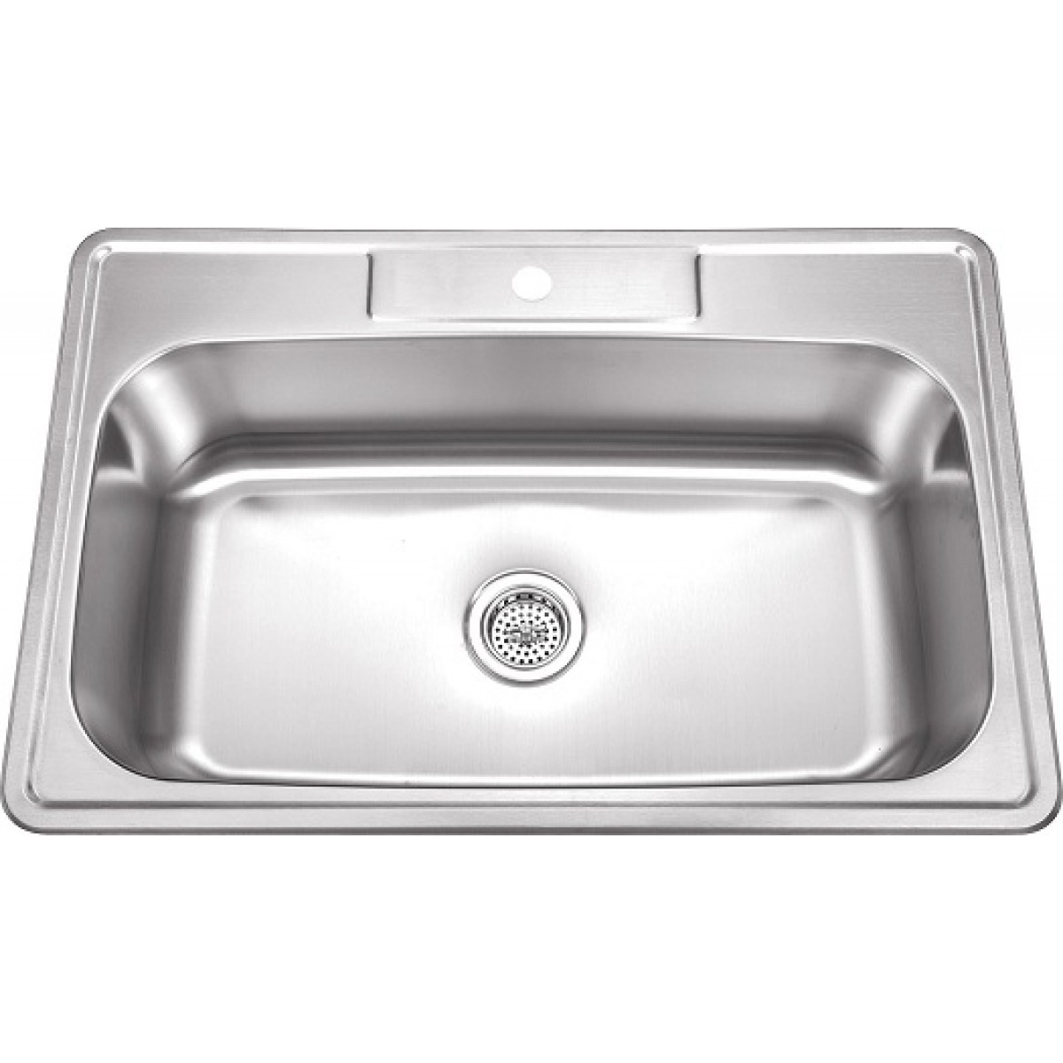 33 inch stainless steel top mount drop in single bowl kitchen sink w one faucet hole