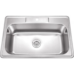 Drop In Kitchen Sinks Calphalon Essentials 33 Inch Stainless Steel Top Mount Single Bowl
