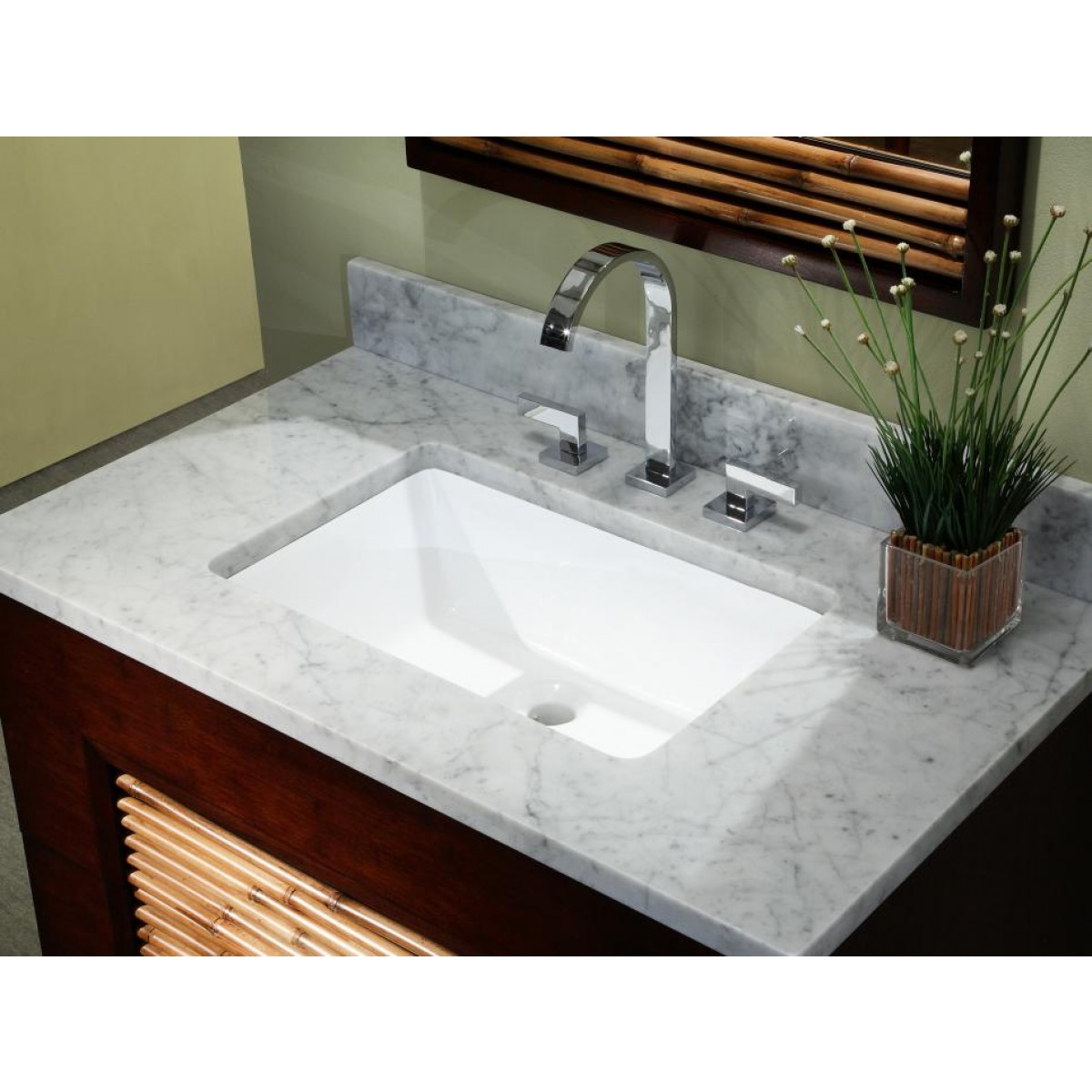 Rectangular White  Biscuit Porcelain Ceramic Vanity