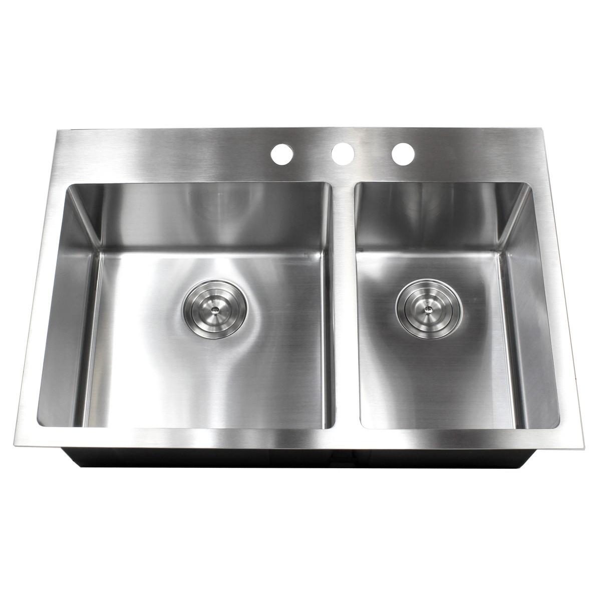 double bowl kitchen sink modern flooring 33 inch top mount drop in stainless steel