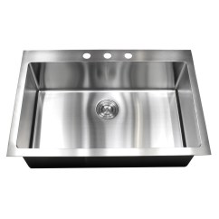 Stainless Steel Single Bowl Kitchen Sink Small Black Table 33 Inch Top Mount Drop In