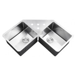 Undermount Corner Kitchen Sink Big Island 43 Inch Stainless Steel Butterly Double