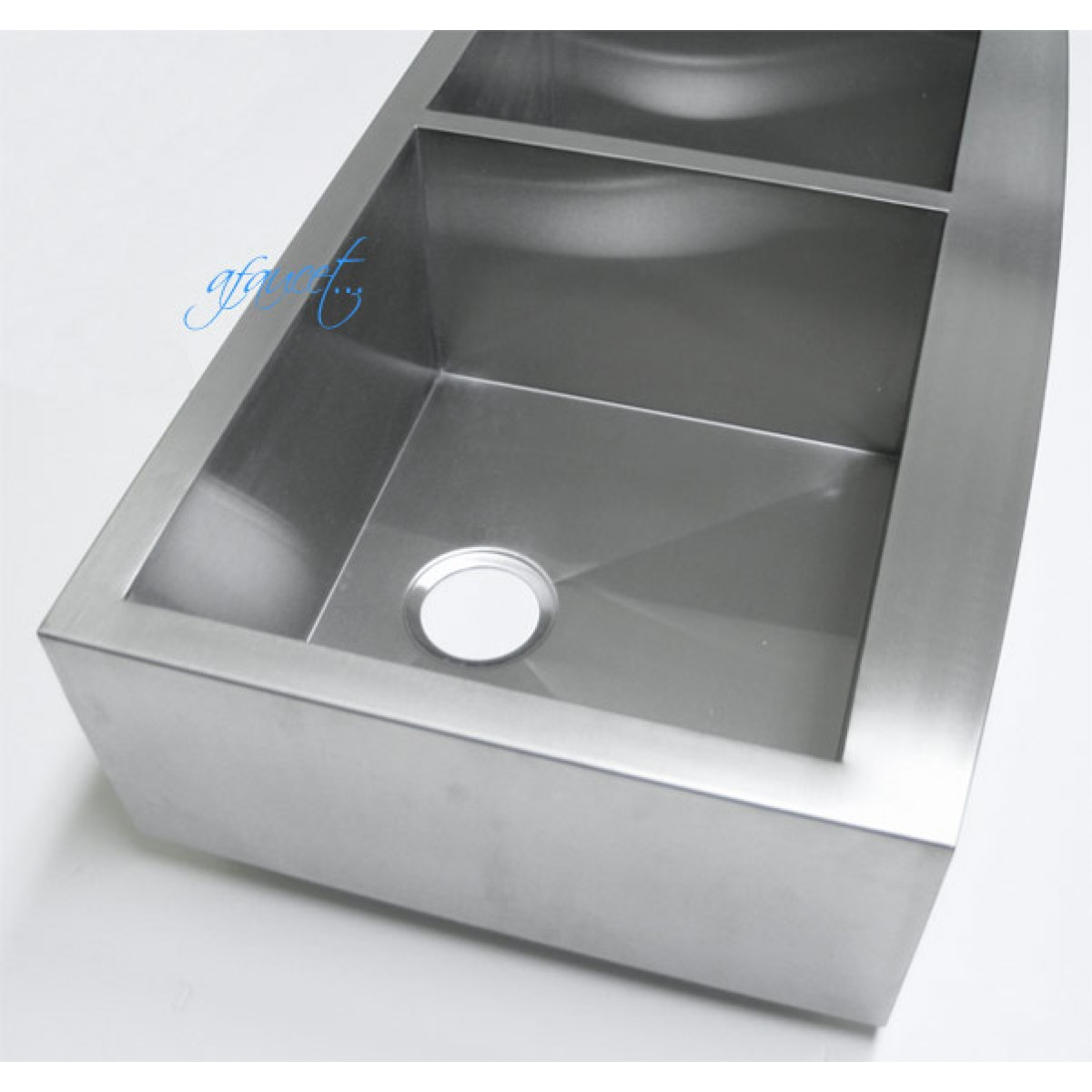 kitchen sink bottom grid faucet pull out sprayer 36 inch stainless steel curved front farm apron 40/60 ...