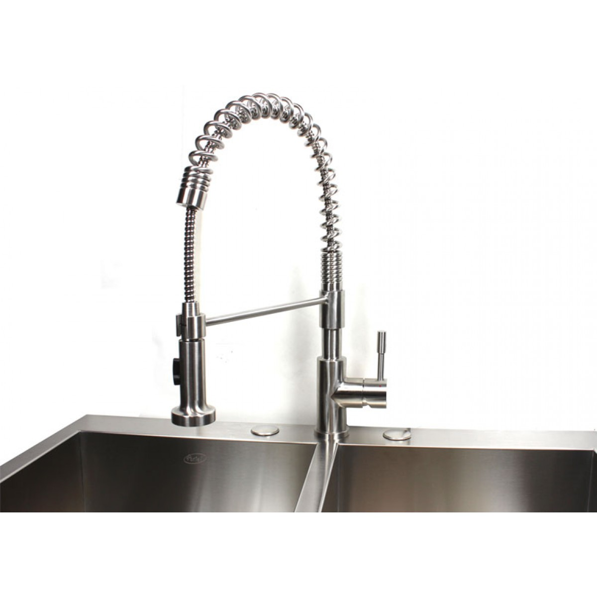 coiled kitchen faucet storage cart european style lead free coil spring duel spout brushed