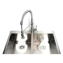Coiled Kitchen Faucet Elegant Cabinets European Style Lead Free Coil Spring Duel Spout Brushed