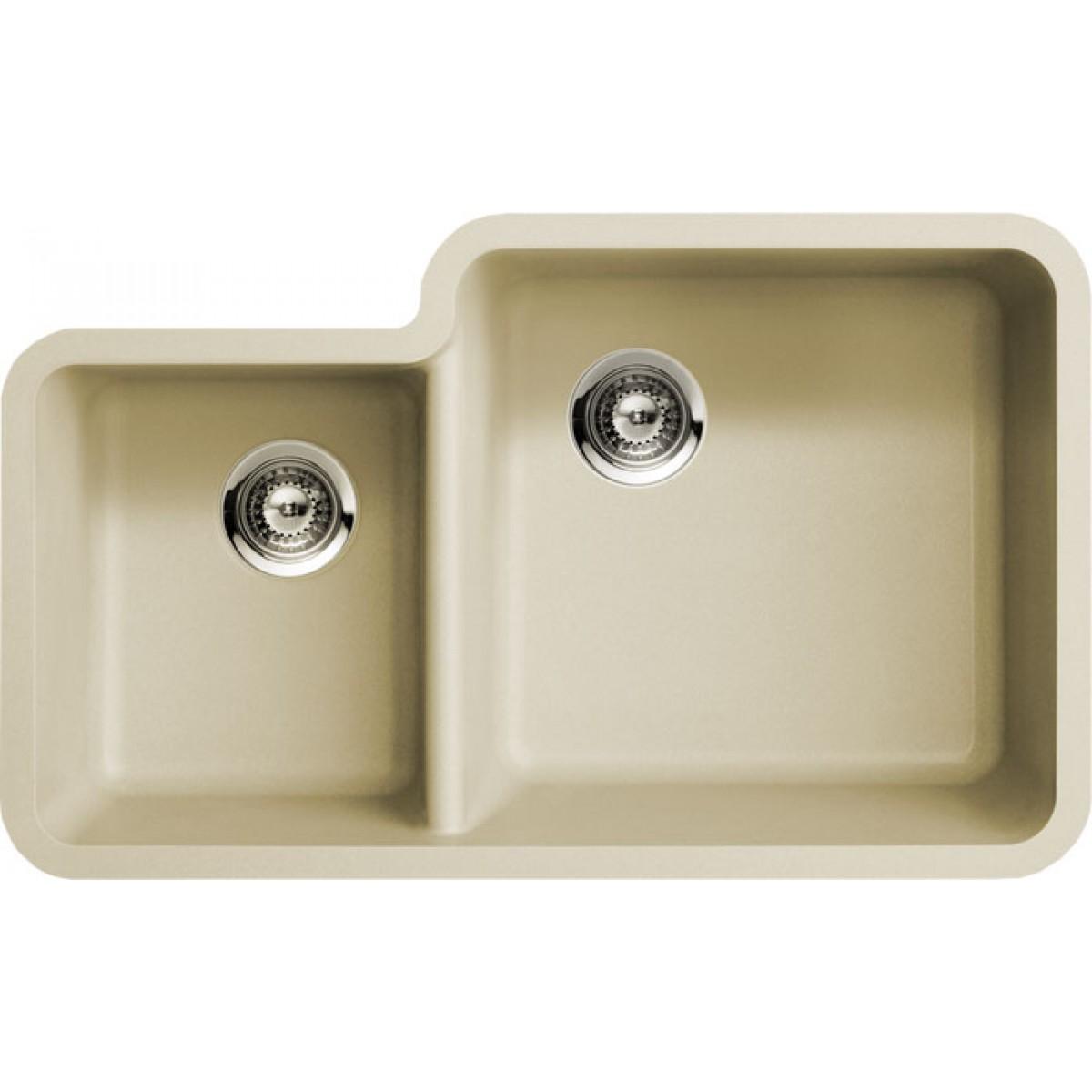 undermount double kitchen sink delta faucet parts beige quartz composite 40 60 bowl