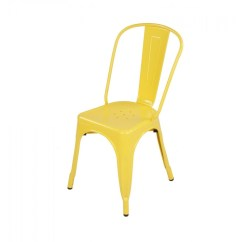 Cafe Chairs Metal Fabric Outside Tolix Style Industrial Loft Designer Yellow Chair