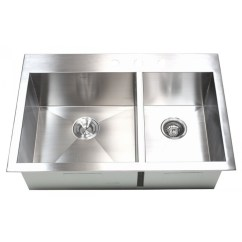 Drop In Kitchen Sinks Windsor Chairs 33 Inch Top Mount Stainless Steel 60 40 Double