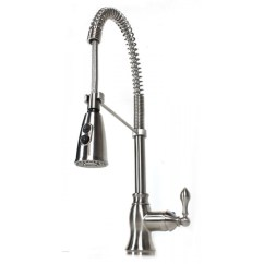 Coiled Kitchen Faucet 4 Person Table European Style Lead Free Coil Spring Brushed Nickel