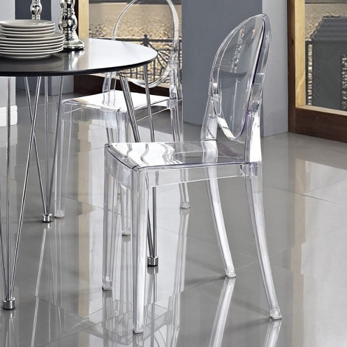 ghost chairs cheap swing chair victoria style dining clear color