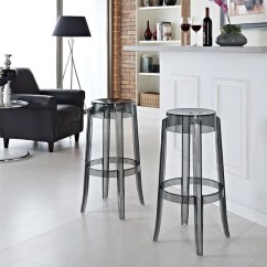 Ghost Chair Bar Stool Beach Chairs For Big And Tall People Set Of 2 Victoria Style Smoke Color