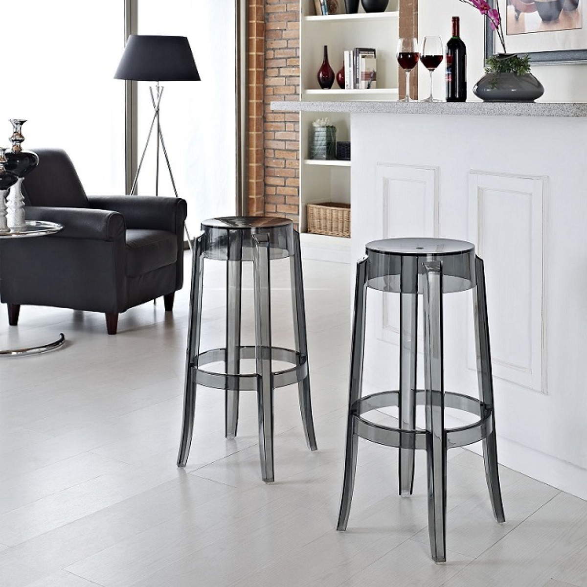 ghost bar chair bedroom rail images set of 2 victoria style stool smoke color