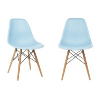 Set of 2 Eames Style DSW Molded Light Blue Plastic Dining ...