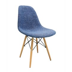 Eiffel Chair Wood Legs Transat Eileen Gray Blue Fabric Upholstered Eames Style Dsw Shell With