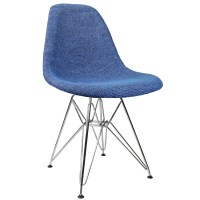 Blue Fabric Upholstered Mid-Century Eames Style Accent ...