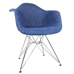 Blue Accent Arm Chair Blow Up Beach Denim Woven Fabric Upholstered Eames Style