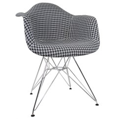 Upholstery Fabrics For Chairs Upholstered Dining Houndstooth Pattern Woven Fabric White Eames