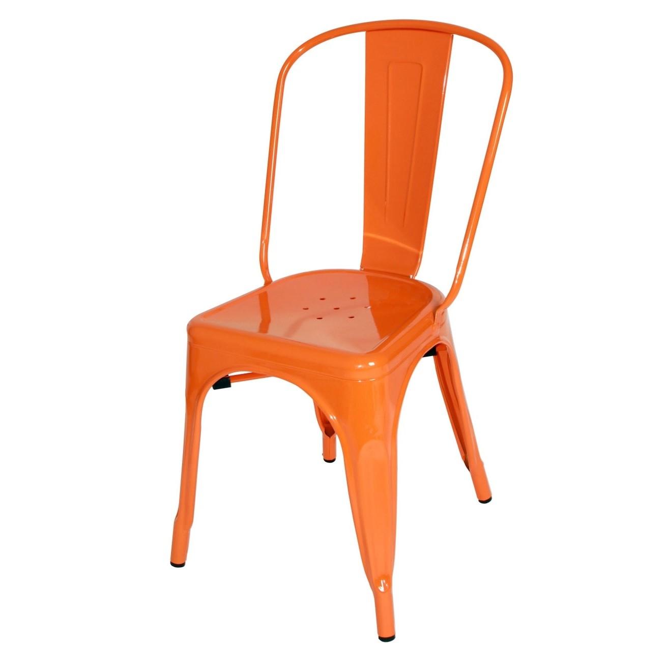 orange cafe chairs ergonomic chair levers tolix style metal industrial loft designer