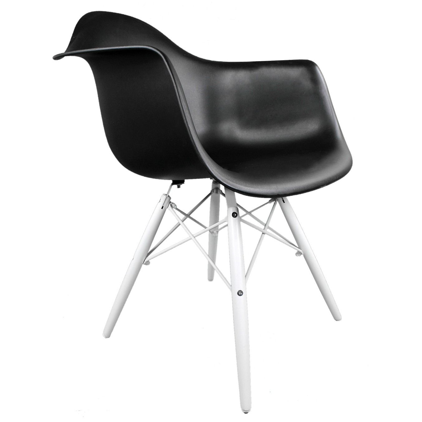 black plastic chair with wooden legs childrens bath eames style daw molded accent arm