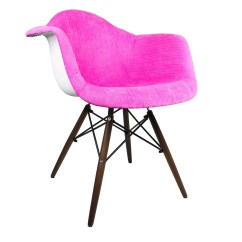 Dark Blue Velvet Accent Chair Fisher Price Rocker Shocking Pink Fabric Eames Style Arm
