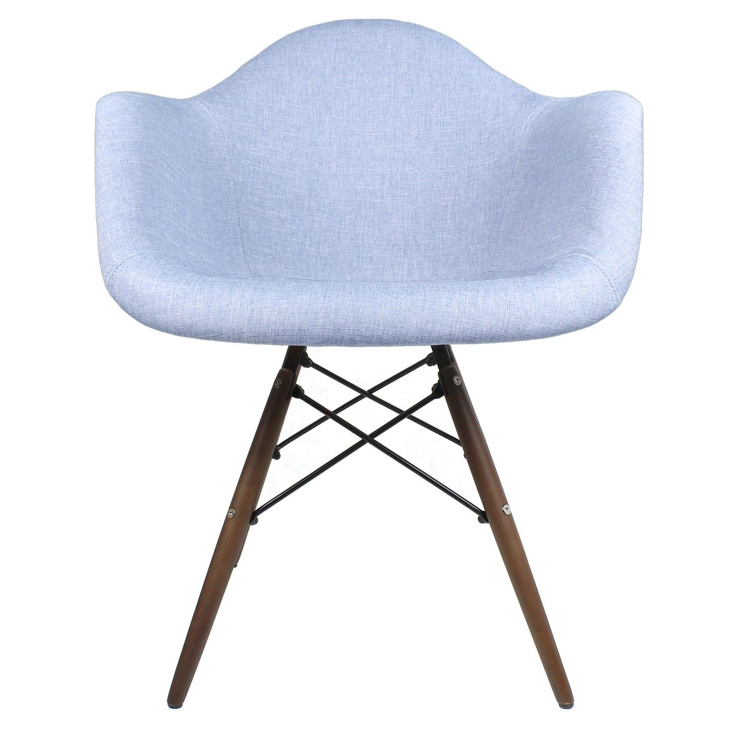 blue accent arm chair how to make a hammock denim fabric upholstered eames style
