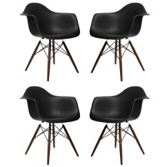 Black Plastic Chair With Wooden Legs Best Lounge For Living Room Set Of 4 Eames Style Daw Molded Dining Armchair Dark Walnut Wood Eiffel