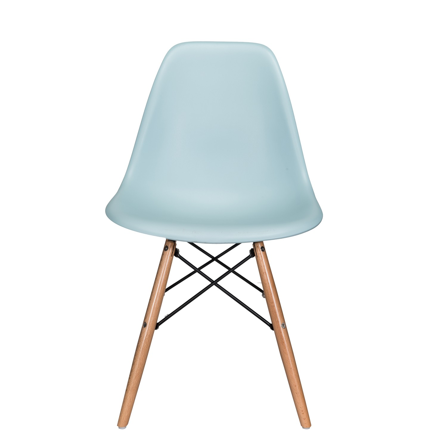 eiffel dining chair with beech legs american office nature series ice blue eames style dsw molded plastic
