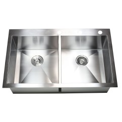 Double Kitchen Sinks Wall Mount Faucet 36 Inch Top Drop In Stainless Steel Bowl