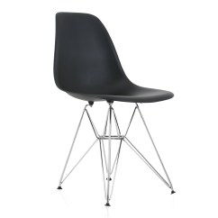 Plastic Chairs With Steel Legs Chair Covers For A Wedding Reception Eames Style Dsr Molded Black Dining Shell