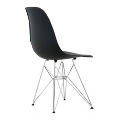 Plastic Chairs With Steel Legs Madonna Of The Chair Eames Style Dsr Molded Black Dining Shell