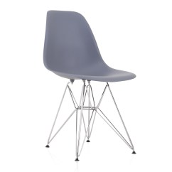 Plastic Chairs With Steel Legs Cherry Dining Room Eames Style Dsr Molded Dark Gray Shell