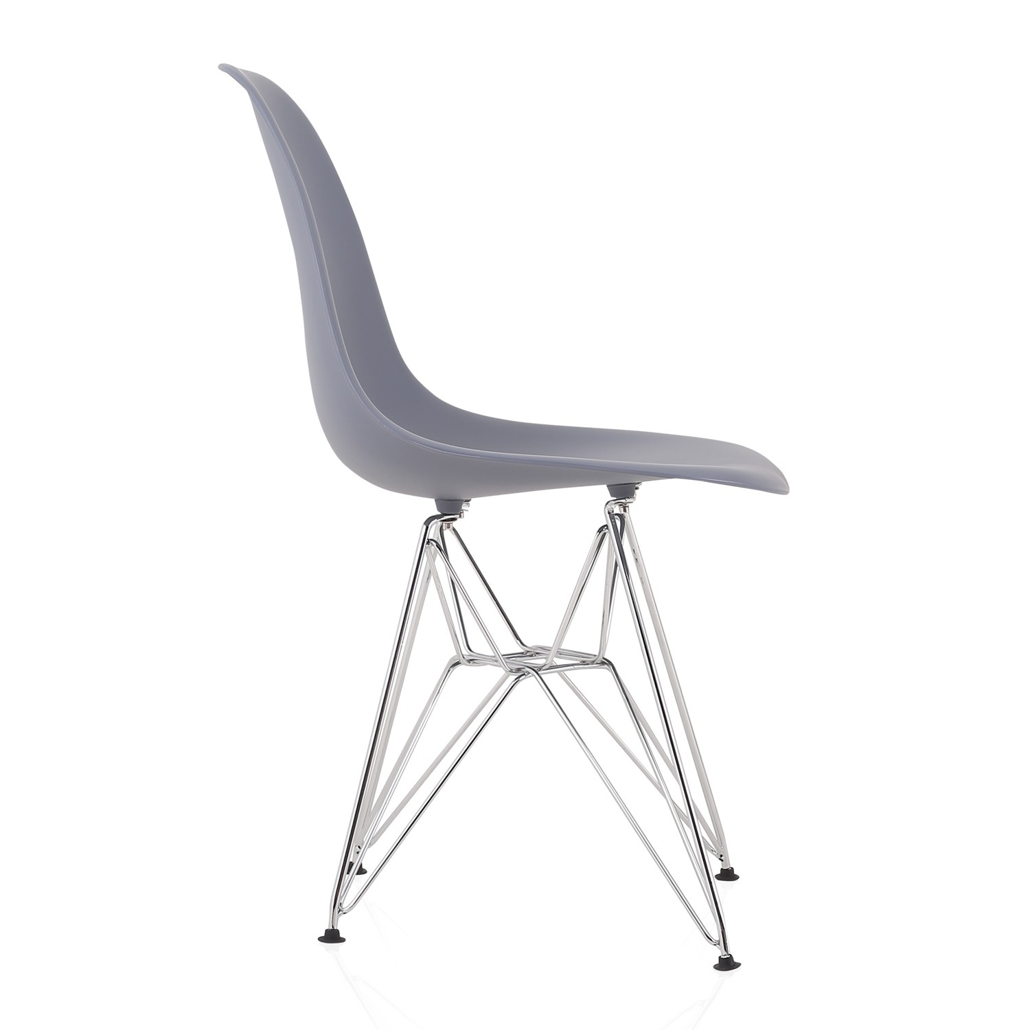 plastic chairs with steel legs swing chair desk eames style dsr molded dark gray dining shell