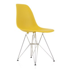 Plastic Chairs With Steel Legs High Chair Toys Eames Style Dsr Molded Dark Yellow Dining Shell
