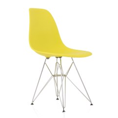 Plastic Chairs With Steel Legs Swing Chair Riyadh Eames Style Dsr Molded Light Yellow Dining Shell