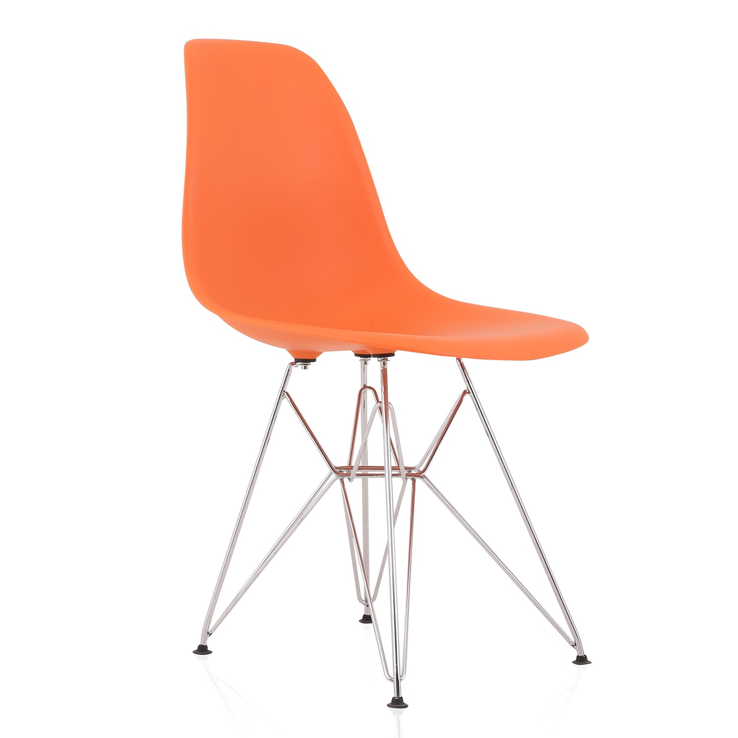 plastic chairs with steel legs vinyl office chair eames style dsr molded orange dining shell