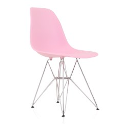 Plastic Chairs With Steel Legs Chair Covers Bed Bath And Beyond Eames Style Dsr Molded Pink Dining Shell