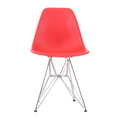 Plastic Chairs With Steel Legs Ergonomic Chair Qatar Eames Style Dsr Molded Red Dining Shell