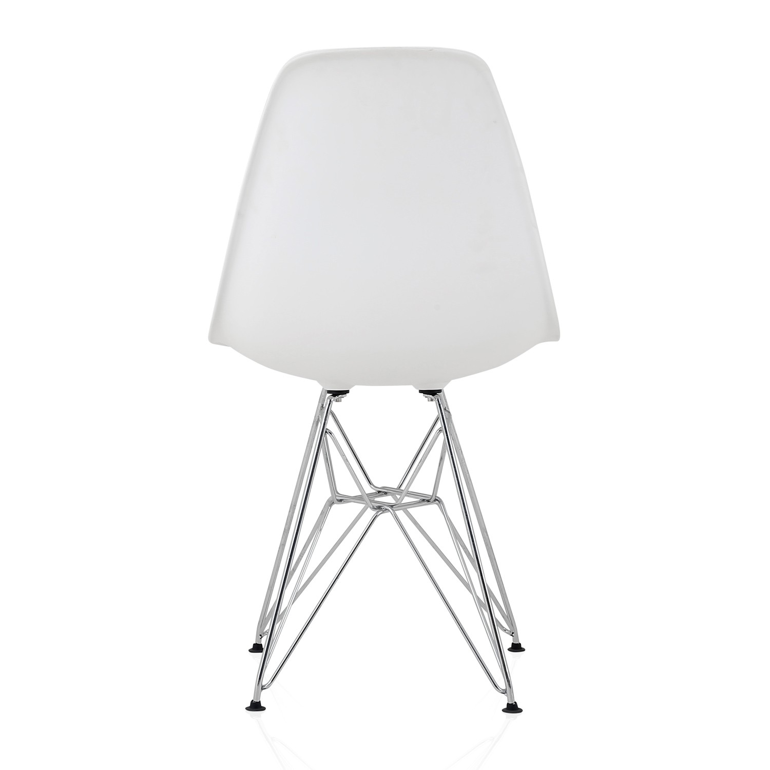 plastic chairs with steel legs card table and chair set menards eames style dsr molded white dining shell