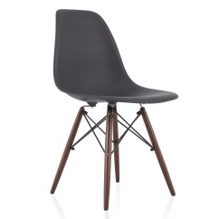 Dark Walnut Dining Chairs Queen Throne Chair Nature Series Carbon Gray Eames Style Dsw Molded Plastic