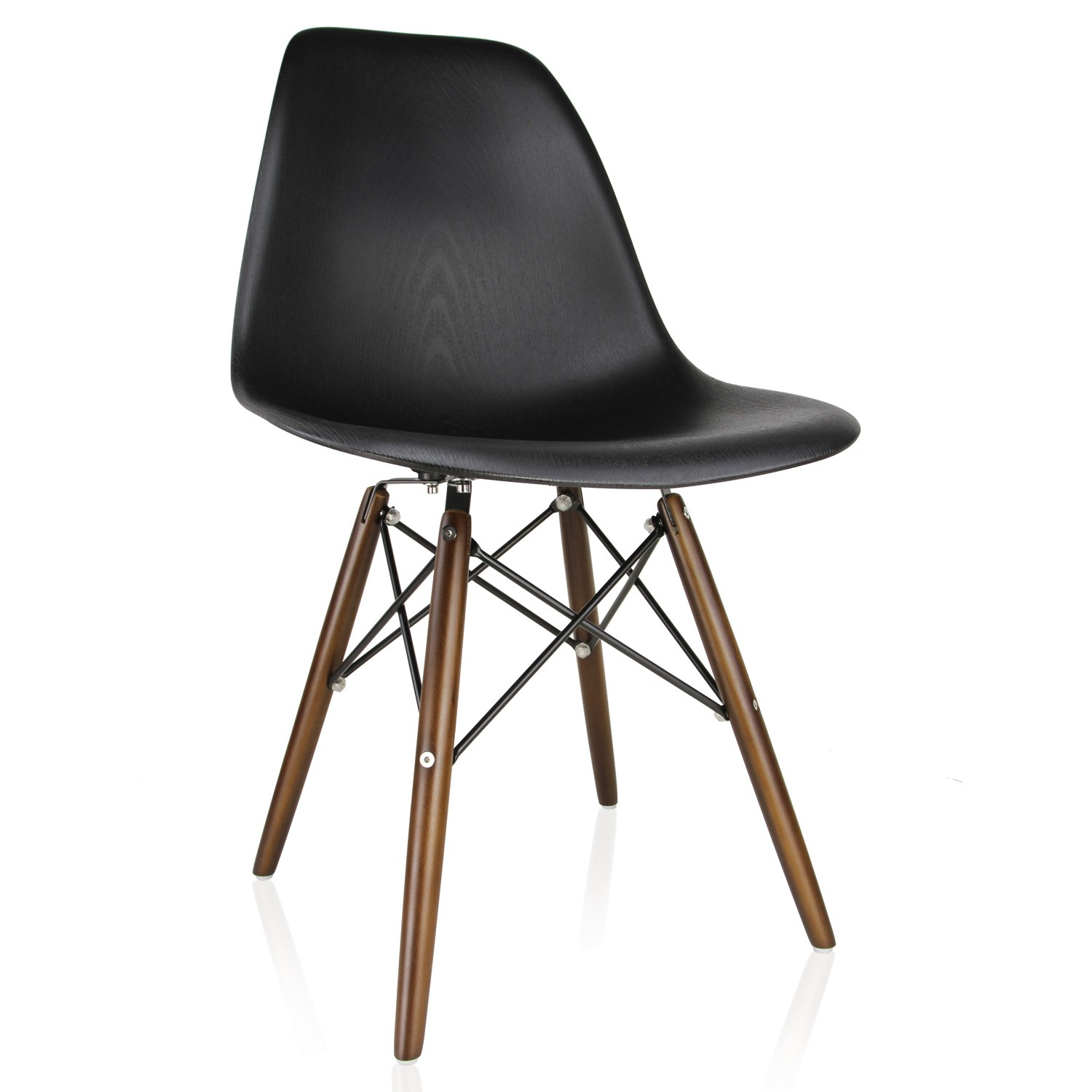 black plastic chair with wooden legs wire ikea nature series wood grain dsw molded dining side