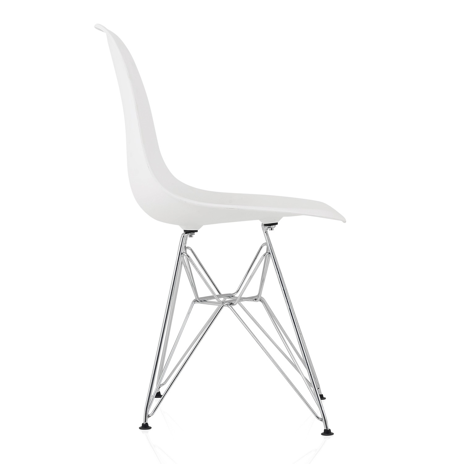 plastic chairs with steel legs rebar lowes eames style dsr molded white dining shell chair