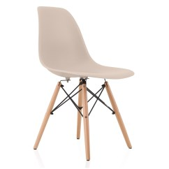 Eiffel Dining Chair With Beech Legs Portable Baby High Seat Nature Series Cream Beige Eames Style Dsw Molded Plastic